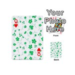 Sweet Shiny Floral Green Playing Cards 54 (Mini)  Front - HeartQ