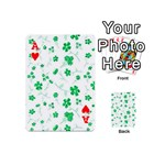 Sweet Shiny Floral Green Playing Cards 54 (Mini)  Front - HeartA