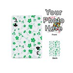 Sweet Shiny Floral Green Playing Cards 54 (Mini)  Front - Club3
