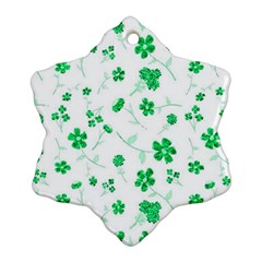 Sweet Shiny Floral Green Snowflake Ornament (2-Side)