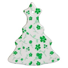 Sweet Shiny Floral Green Christmas Tree Ornament (2 Sides)