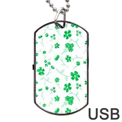 Sweet Shiny Floral Green Dog Tag USB Flash (One Side)