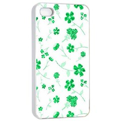 Sweet Shiny Floral Green Apple iPhone 4/4s Seamless Case (White)