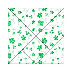 Sweet Shiny Floral Green Acrylic Tangram Puzzle (6  x 6 )