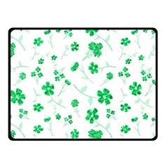 Sweet Shiny Floral Green Double Sided Fleece Blanket (Small)