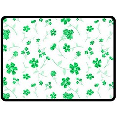 Sweet Shiny Floral Green Double Sided Fleece Blanket (large)