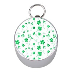 Sweet Shiny Floral Green Mini Silver Compasses