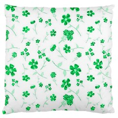 Sweet Shiny Floral Green Large Flano Cushion Cases (One Side)