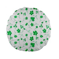 Sweet Shiny Floral Green Standard 15  Premium Flano Round Cushions