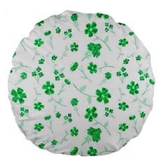 Sweet Shiny Floral Green Large 18  Premium Flano Round Cushions