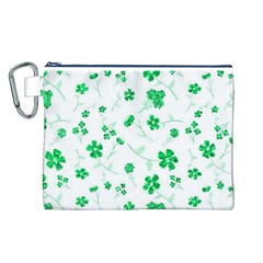 Sweet Shiny Floral Green Canvas Cosmetic Bag (l)