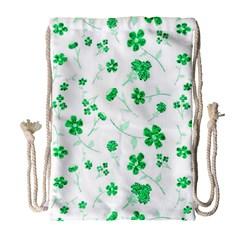 Sweet Shiny Floral Green Drawstring Bag (large)