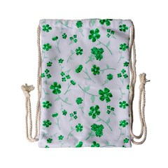 Sweet Shiny Floral Green Drawstring Bag (Small)