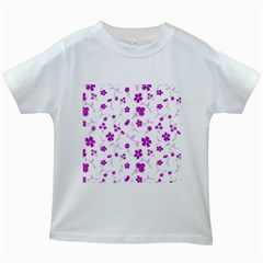 Sweet Shiny Floral Pink Kids White T-Shirts
