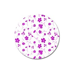 Sweet Shiny Floral Pink Magnet 3  (round)