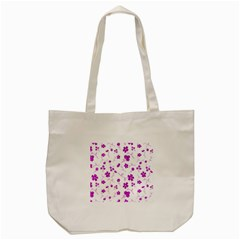Sweet Shiny Floral Pink Tote Bag (Cream)