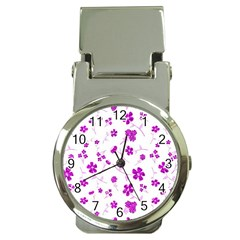 Sweet Shiny Floral Pink Money Clip Watches