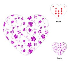 Sweet Shiny Floral Pink Playing Cards (heart)