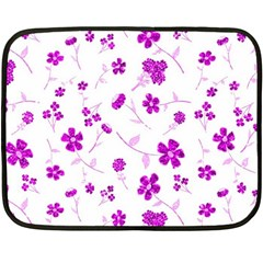 Sweet Shiny Floral Pink Double Sided Fleece Blanket (mini)