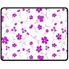 Sweet Shiny Floral Pink Fleece Blanket (Medium)