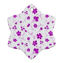 Sweet Shiny Floral Pink Snowflake Ornament (2-Side)