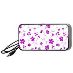 Sweet Shiny Floral Pink Portable Speaker (black)