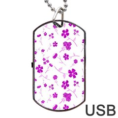 Sweet Shiny Floral Pink Dog Tag Usb Flash (one Side)
