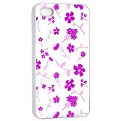 Sweet Shiny Floral Pink Apple iPhone 4/4s Seamless Case (White)