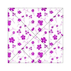 Sweet Shiny Floral Pink Acrylic Tangram Puzzle (6  X 6 )