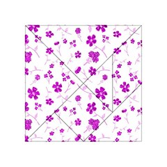 Sweet Shiny Floral Pink Acrylic Tangram Puzzle (4  X 4 )