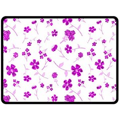 Sweet Shiny Floral Pink Double Sided Fleece Blanket (large)