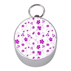 Sweet Shiny Floral Pink Mini Silver Compasses