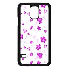 Sweet Shiny Floral Pink Samsung Galaxy S5 Case (black)