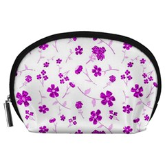 Sweet Shiny Floral Pink Accessory Pouches (large)