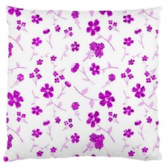 Sweet Shiny Floral Pink Large Flano Cushion Cases (One Side)