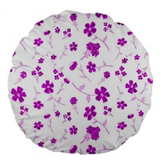 Sweet Shiny Floral Pink Large 18  Premium Flano Round Cushions