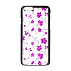 Sweet Shiny Floral Pink Apple Iphone 6 Black Enamel Case