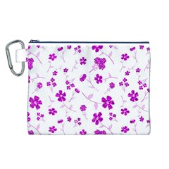 Sweet Shiny Floral Pink Canvas Cosmetic Bag (l)