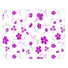Sweet Shiny Floral Pink Double Sided Flano Blanket (Large)