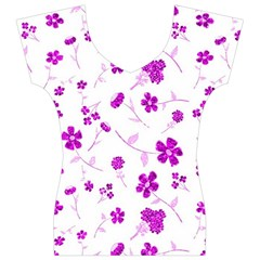 Sweet Shiny Floral Pink Women s V-Neck Cap Sleeve Top