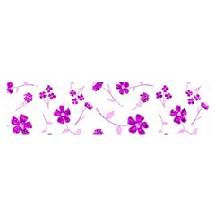 Sweet Shiny Floral Pink Satin Scarf (Oblong)