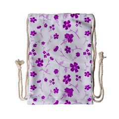 Sweet Shiny Floral Pink Drawstring Bag (small)