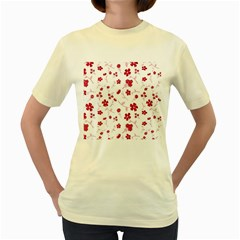 Sweet Shiny Floral Red Women s Yellow T Shirt