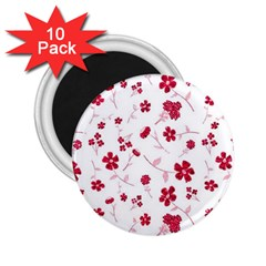 Sweet Shiny Floral Red 2 25  Magnets (10 Pack)
