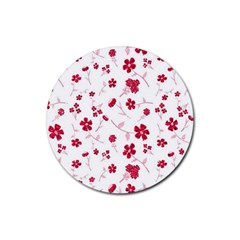 Sweet Shiny Floral Red Rubber Round Coaster (4 Pack)