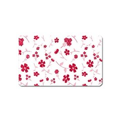 Sweet Shiny Floral Red Magnet (name Card)