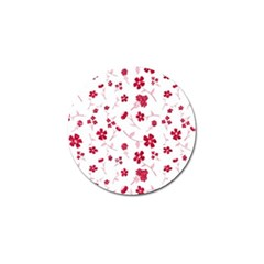 Sweet Shiny Floral Red Golf Ball Marker (10 Pack)