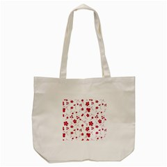Sweet Shiny Floral Red Tote Bag (Cream)