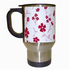 Sweet Shiny Floral Red Travel Mugs (white)
