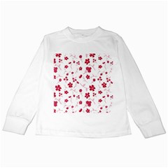 Sweet Shiny Floral Red Kids Long Sleeve T Shirts